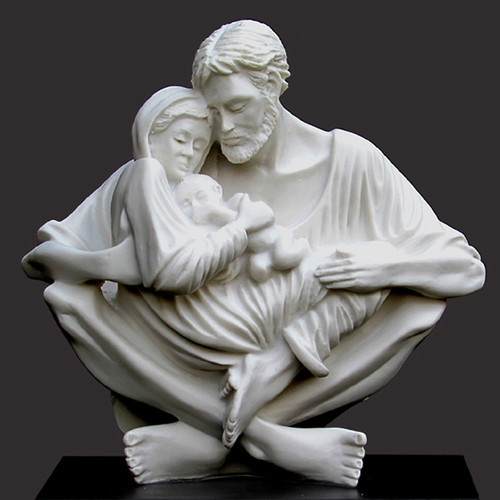 "Jesus, Mary and Joseph portrayed in perfect harmony, love and peace A celebration of the purity of love. Resin Stone (Carrara White) 9.5""h x 10""w x 5""d Black base."