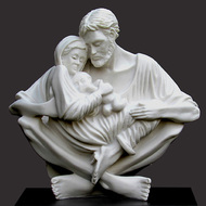 """Jesus, Mary and Joseph portrayed in perfect harmony, love and peace A celebration of the purity of love. Resin Stone (Carrara White) 9.5""""h x 10""""w x 5""""d Black base."""