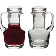 """5-1/2"""" Glass Cruets w/Flat Top Stoppers. 6 ounces each. All glass may have slight irregularities"""