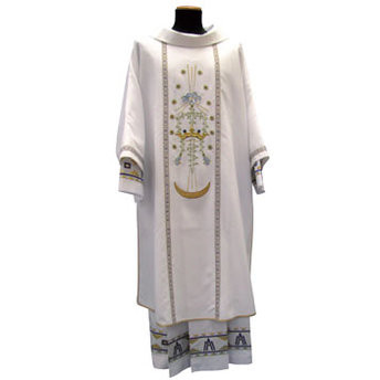 Dalmatic-Chasuble in Primavera fabric (100% polyester). Embroidery in front as illustrated and Marian symbol at the back. Shipped directly from Italy, please allow 4 to 6 weeks delivery.  These items are imported from Europe. Please supply your Institution's Federal ID # as to avoid an import tax. Please allow 3-4 weeks for delivery if item is not in stock