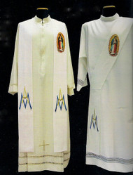 (Our Lady of Guadalupe) Marian Priest Overlay Stole or Deacon Stole  Primavera fabric (100% polyester) Painted picture and Marian symbol embroidered Shipped directly from Italy, please allow 4 to 6 weeks delivery.  These items are imported from Europe. Please supply your Institution's Federal ID # as to avoid an import tax.  Please allow 3-4 weeks for delivery if item is not in stock