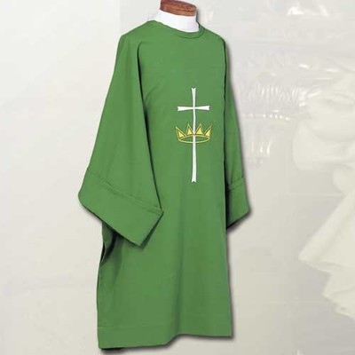 D842 Cross with Crown Symbol-Dalmatic with Crown and Cross Swiss Schiffli embroidery. Constructed of 100% Fortrel Polyester with a linen weave for easy care and durability. Available in White, Ivory, Red, Purple, Kelly Green, Hunter Green, Blue or Rose