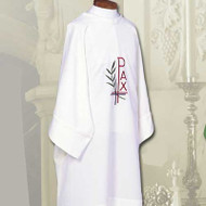 Dalmatic with Chalice, Wheat & Grapes Design Swiss Schiffli embroidery Constructed of 100% Fortrel Polyester with a linen weave for easy care and durability Available in White, Ivory, Red, Purple, Kelly Green, Hunter Green, Blue, or Rose