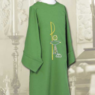Chi Rho, ChaliDalmatic with Chalice & Host Design Swiss Schiffli embroidery Constructed of 100% Fortrel Polyester with a linen weave for easy care and durability Available in White, Ivory, Red, Purple, Kelly Green, Hunter Green, Blue or Rosece and Host