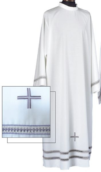 """Choose an Alb in cotton/polyester (40% Cotton and 60% Polyester) with one lace insert or mixed wool 45% Wool/55% polyester with two lace inserts. Albs have an Embroidered Cross on Lower Front of Alb. Alb has zipper on shoulder Size Chart X-Small: Back Length- 55"""", Sleeve Length- 31"""", Fit Height-5'4"""" to 5'6""""  Small: Back Length- 57"""", Sleeve Length- 32"""", Fit Height- 5'7"""" to 5'9"""" Medium: Back Length-59"""", Sleeve Length- 33"""", Fit Height- 5'10"""" to 5'12"""" Large: Back Length-61"""", Sleeve Length- 34"""", Fit Height- 6'1"""" to 6'4"""" X-Large: Back Length-63"""", Sleeve Length- 35"""", Fit Height- 6'5"""" + These items are imported from Europe. Please supply your Institution's Federal ID # as to avoid an import tax. Please allow 3-4 weeks for delivery if item is not in stock"""