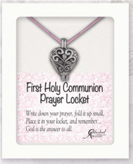 "13"" Pewter First Holy Communion Prayer Locket on Pink Satin Cord. Gift Boxed with Instructions: ""Write  down your prayer, fold it up small, Place it in your locket, and remember...God is the answer to all."