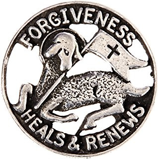 """3/4"""" Reconciliation Lapel Pin """"Forgiveness Heals & Renews"""". Silver Oxidised Pewter."""
