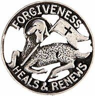 "3/4"" Reconciliation Lapel Pin ""Forgiveness Heals & Renews"". Silver Oxidised Pewter."