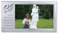 "Confirmation Sponsor Photo Frame with Dove - Satin Silver Sponsor Frame with Dove in Upper Corner. The words, ""Sponsor, Thank you for being there, for your help and guidance with love and prayer"" are printed on frame. Holds a 4"" x 6"" Photo"