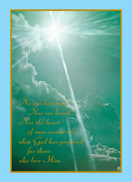 """Image of a mass card that features the text, """"No eye has seen, Nor ear has heard, Nor the heart of man conceived, what God has prepared for those who love Him."""" The card also features an image of clouds and sunlight with a blue border."""