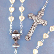 First Communion Pearl Heart Shaped Beads Rosary Chalice Centerpiece.