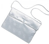 "Satin Brocade Communion Purse. Snap shut with shoulder strap. 5"" x 7"" x .50"