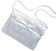 "Satin Brocade Chalice Print Communion Purse. Snap shut closure with white nylon shoulder strap. 5.25""H x 7""W"