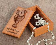 "2 1/2"" X 4"" ""My First Communion"" Keepsake Box. Mahogany Wood, Laser Cut, Velvet Lined. Pearl Heart Shaped Rosary Sold Separately! (Item #15505)"