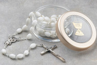 White First Communion Rosary in Clear Case