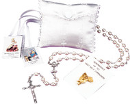 White Silk Pouch Rosary Case Set with Rosary, Scapular, & First Communion Pin