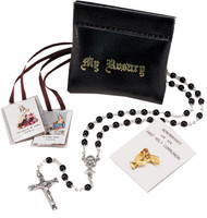 Black squeeze rosary pouch set contains and black olive wood rosary, a scapular and lapel pin.