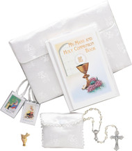 This six piece set includes a silk brocade purse which holds her Communion Missal, rosary, satin rosary case, scapular and Communion lapel pin. Gift Boxed