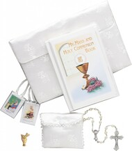 This six piece set includes a silk brocade purse which holds her Communion Missal, Rosary, a Satin Rosary Case, a Scapular and Communion Lapel Pin. Gift Boxed