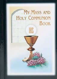 Holy Communion Missal has a Padded Cover in Black or White with Gold stamped edging on pages.