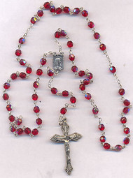 Red Aurora Borealis Rosary.  Perfect Gift for Confirmation!