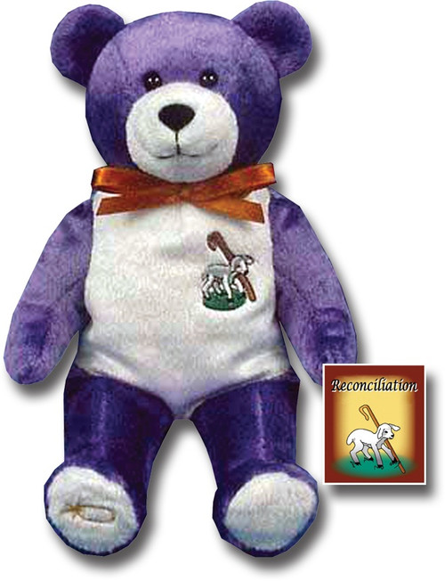 """9"""" Tall Bear has Sheep & Staff on his chest and is holding Reconciliation Book in his hand. Similar to the Popular Beanie Babies"""
