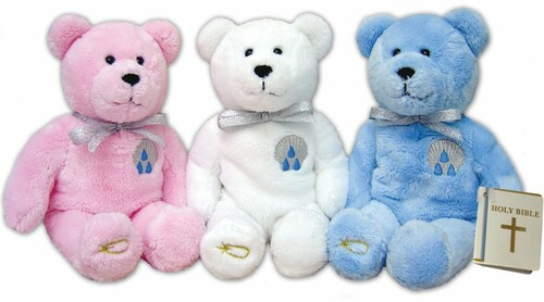 """9"""" Tall Bear has a baptismal shell on his chest and is holding the Holy Bible. Similar to the Popular Beanie Babies. These adorable holy bears come in your choice of Blue, Pink or White"""
