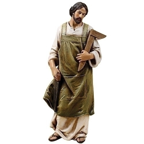 """St. Joseph the Worker 10"""" Statue.  Resin/Stone Mix. Dimensions: 10.25""""H x 3.75""""W x 3""""D"""