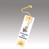 "4"" Laminated Bookmark with Tassels. ""Celebrating Holy Communion"""