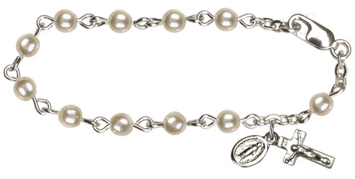 Baby's First Rosary Bracelet. Sterling Silver with Pearl Beads. Sterling Crucifix and Miraculous Medal. Gift Boxed