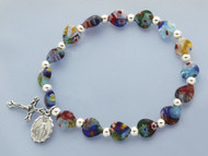 Venetian Style Beads Stretch Bracelet with Miraculous Medal and Crucifix Charms