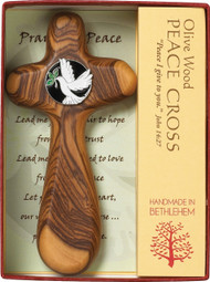 "3.75"" Peace Holding Cross is handmade in Bethlehem! Sculpted from olive wood that grew from roman trees that have been growing since the time of Christ with the symbol of the Dove and the Olive Branch in the center. No two crosses are alike! Gift Boxed and Prayer included"