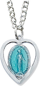"Blue enameled Miraculous Medal in Heart Shaped Pendant, Rhodium or Sterling Silver on 18"" chain"