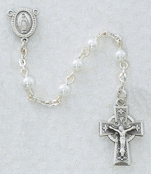 Celtic Cross Pewter Rosary with Miraculous Medal Centerpiece. Five MM White Pearl or Black Pearl Beads. Great Communion gift!
