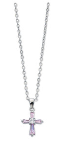 """1/2""""  Pink Crystal Cubic Zirconia Cross Pendant on a 16"""" Chain. A perfect accent for your child's communion dress! Comes in a gift box. Made in the USA."""