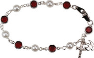 Confirmation Ruby and Pearl Bracelet with Holy Spirit Charm
