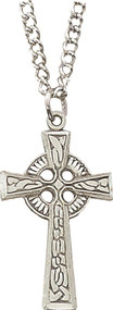 "Boy's Sterling Silver Celtic Cross design pendant on an 18"" Stainless Steel Chain"