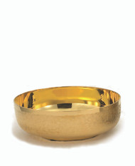 "Open Ciborium Bowl is available in Silver, Gold- Line or 24K gold plate with Straw Textured Finish. Bowl is 6 1/8"" Diameter. Ht. 2 1/8"". Holds 300 host based on 1 3/8"" host."