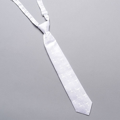 Pre-tied White Damask Chalice Print Tie with adjustable neckband strap