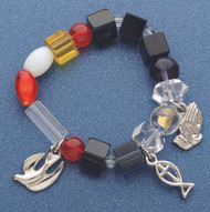 """This 6-6.5"""" bracelet recounts a prayer that brings us close to God. Prayer and Instruction card are enclosed."""