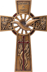 "Confirmed in Christ Collection. 7.75"" Wall Cross~ Resin/Stone mix with Bronze Finish. See also matching Keepsake Box  (#130073)"