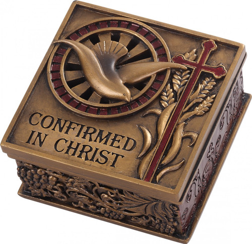 """Confirmed in Christ Collection. 2.75"""" Keepsake Box~ Resin/Stone mix with Bronze Finish. See also Wall Cross (#130072)"""