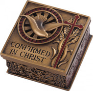 "Confirmed in Christ Collection. 2.75"" Keepsake Box~ Resin/Stone mix with Bronze Finish. See also Wall Cross (#130072)"
