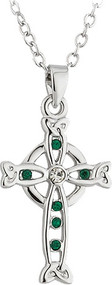 Celtic Cross Pendant with Green Stones