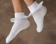 Cotton & Lace Sock with Embroidered Cross. Size 6/8 or Size 9/11