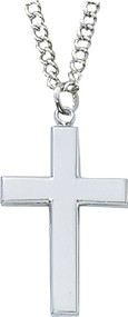 "1 1/4""L Sterling Silver Cross on 24"" Stainless Steel Chain"