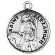 """7/8"""" Round St. Alexander w/20"""" Chain.  Medal comes on a 20"""" genuine rhodium plated curb chain. St Alexander medal presents in a deluxe velour gift box. Dimensions: 0.9"""" x 0.7""""(22mm x 18mm) Weight of medal: 3.3 Grams.  Engraving Option Available. Made in the USA"""