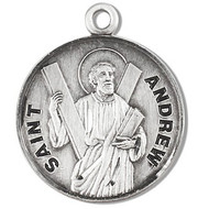 """Round St. Andrew Sterling silver medal with a 20"""" genuine rhodium plated chain. Comes in a deluxe velour gift box. Dimensions: 0.9"""" x 0.7""""(22mm x 18mm) Weight of medal: 3.3 Grams. Engraving option available. Made in the USA"""