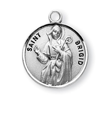 "Round St. Brigid w/18"" Chain - Saint Brigid is the Patron Saint of babies, and blacksmiths. Comes with an 18"" Genuine rhodium plated curb chain and includes a deluxe velour gift box. Engraving Option Available"