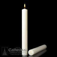 Table Altar Candles - 51% Beeswax- Longer Burning, guaranteed and stamped. 51% Beeswax candles feature a dimensional design and are expertly crafted for table altars. Insistence on the finest beeswax is long-standing because the wax is symbolic of the purity of Christ himself
